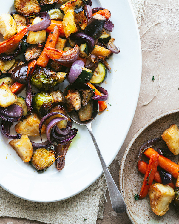 Roast Potatoes and vegetables
