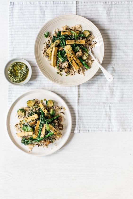 Dr Megan Rossi's Brussels Sprouts & Tenderstem Broccoli with Pesto and Wild Rice recipe
