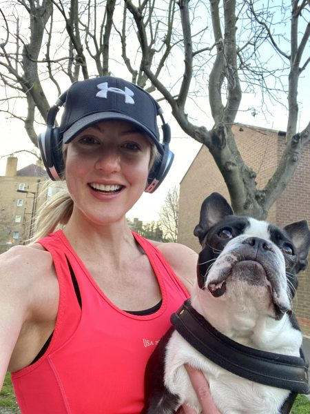 dr megan rossi running with pistachio, her dog